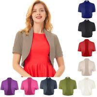 Womens Ladies Short Sleeve Open Front Cardigan Cropped Short Shrug Bolero Coat