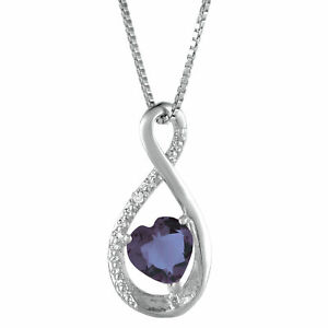 Created Alexandrite Heart Pendant With Diamond Accent in White Gold
