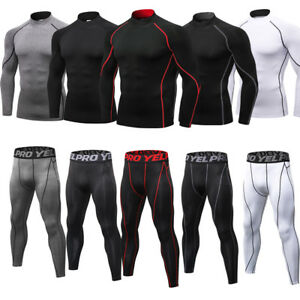 Mens Compression Outfit Mock Neck Shirt Athletic Fitness Gym Sport Suit Cool Dry