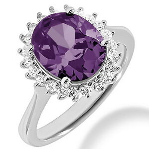 Oval Purple Amethyst Diamond Halo 14k White Gold Engagement Cocktail Ring