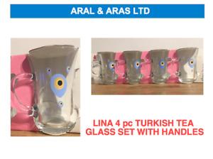 ✅ PASABAHCE Lina *Turkish Tea* Glass with Handles - Evil Eye Design (4 OR 8)