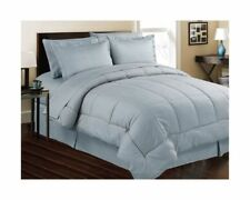 8 Piece Bed In a Bag Hotel Dobby Embossed Comforter Sheet set (Queen, Lt. Blue)