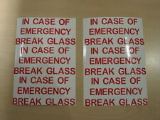 IN CASE OF EMERGENCY BREAK GLASS ADHESIVE STICKER RED VINYL FOR CRAFT FRAMES