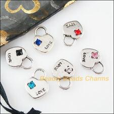 "8Pcs Tibetan Silver Tone Mixed Crystal /""Miss Me/"" Heart Charms Pendants 8x21mm"