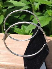 ITALY SOLID 925 STERLING SILVER DIAMOND CUT DESIGN HOOP EARRINGS TOP QUALITY