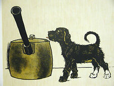 Cecil Aldin c 1900 Curious BLACK PUPPY Looking in Pot for Food - Print Matted