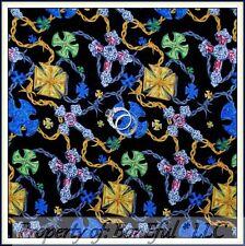 BonEful Fabric FQ Cotton Quilt VTG Religious Christ*ian Gothic Cross Gold Silver