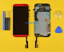 Original LCD Display Touch Screen Digitizer Glass+Frame For HTC ONE M8 831C Red