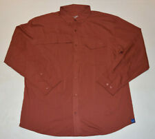 HUK Men Tide Point Woven Burnt Orange Button Down Long Sleeve Shirt 2XL XXL B20