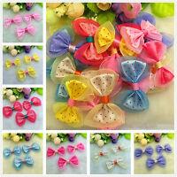 DIY 10-100 pcs Dot Ribbon Organza lace BOW Appliques/craft/Wedding decoration Y