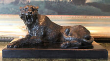 Jaguar Cat Car Collector Art Gift Elegant Bronze Marble Statue Panther Leopard
