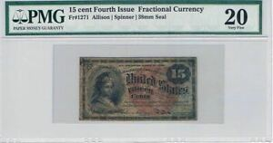 15 Cents, Fourth Issue, Fractional Currency, FR#1271, PMG 20