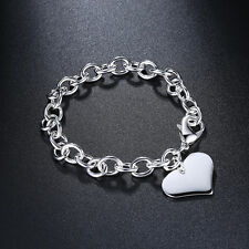 New WOMEN GIRLS 925 STERLING SILVER Filled Solid Heart Bracelet Heart Pendant