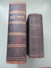 1849 Leather bound Bible Lincoln Family Belmont, MA & 1886 Leather bible