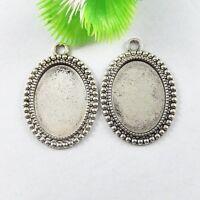 20pcs 51681 Retro Style Silver Alloy Cameo Tray DIY Necklace Pendant Jewelry
