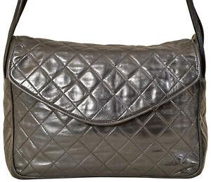 "CHANEL 10.5"" Black Quilted Lambskin Leather Envelope Style Handbag Bag Purse"