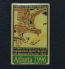 Olympic Pin Badge~Poster Pin~Chamonix, France 1924~1996 Atlanta~NEW on CARD