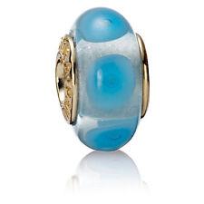 PANDORA | 14K GOLD LIGHT BLUE MYSTIC GLASS MURANO *NEW* Authentic 750403 RETIRED