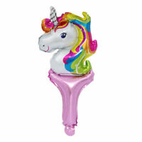 Unicorn Hand Held stick Foil Balloon Kids Toys Gifts Birthday Party Bag Fillers