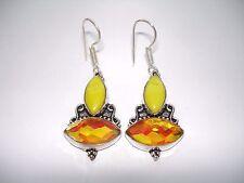 "AB Yellow Agate Golden Rainbow Mystic Topaz Earrings .925 Silver Hook Dangle 2"""