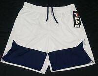 Mens Fila Basketball- Running Shorts Fitness Pockets white navy blue