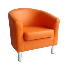 MODERN LEATHER TUB CHAIR ARMCHAIR DINING ROOM OFFICE RECEPTION - ORANGE