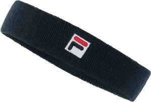 FILA Head Sweatband Navy Logo Cotton Band Terry Tennis Running Sweat Men Women
