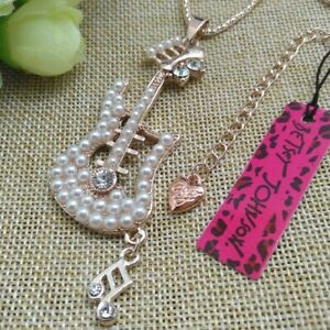 Betsey Johnson Pearl Guitar Rose Gold Pendant Chain Necklace Free Gift Bag