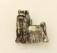 BROOCH vintage, lap dog with bow