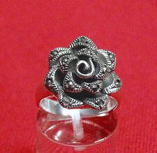 Rose massiver Ring Gr. 58  925er Sterlingsilber mit Markasit vintage