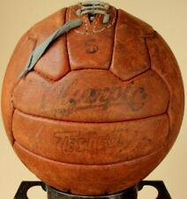 Vintage Leather Olympic Football. Old Laced 18 Panel Soccer Ball. c1950.