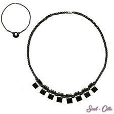 schicke Glaskette anthrazit Halskette Kette Glasperlen Anhänger glatt glänzend