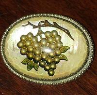 Antique Grape Cluster Leaf Brooch Hand Painted Reverse Glass Intaglio Pin 3D Vtg