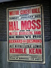 More details for music hall variety theatre poster 1930s,corby welfare concert hall,hal moss,mann