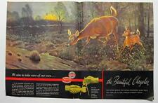 Original 1948 Chrysler Ad  Clymer Art Series A DOE AND HER FAWN 21 BY 13.5