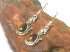 TIGER'S  EYE  Sterling   Silver  925  Gemstone  Earrings  -   Gift  Boxed