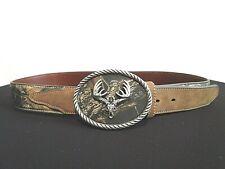 NOCONA Camouflage Leather Silver Deer Skull Buckle Western Hunting Belt Size 34