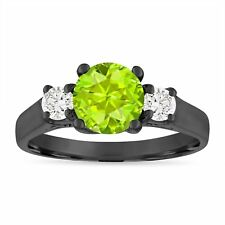 Vintage Peridot and Diamonds Engagement Ring, 1.55 Carat 14K Black Gold Handmade