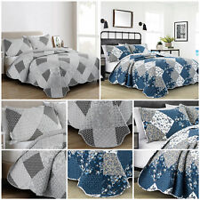 Luxury Quilted Patchwork Bedspread Bed Throw Single Double King Size Bedding Set