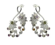 Multi 925 Sterling Silver Natural appealing Tourmaline exporter Earring AU gift