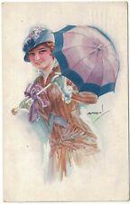 Glamour Postcard by Spanish Artist Luiz Usabal Woman holding an Umbrella