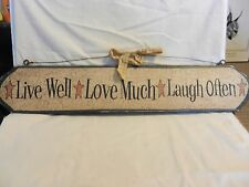 Live Well, Love Much, Laugh Often Antique Finish Wooden Sign
