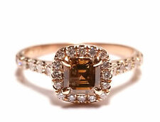 Real 1.08ct Natural Fancy Brown Diamonds Engagement Ring 14K Gold Emerald