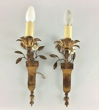 Antique French Pair Two Bagues Porcelain Flowers Gilt Wall Lighting Sconces Lamp