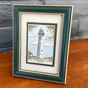 """Biloxi, MS Lighthouse Print - In Green Wooden Frame - 8.5"""" x 6.5"""""""
