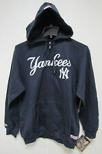 NWT MLB HOODED ZIP UP BLUE SWEATSHIRT APPLIQUE 2 LOGOS - NEW YORK YANKEES - MED