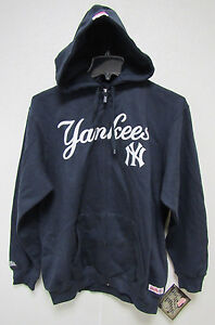 NWT MLB HOODED ZIP UP BLUE SWEATSHIRT APPLIQUE 2 LOGOS - NEW YORK YANKEES - MED