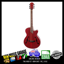 MARTINEZ JAZZ HYBRID ACOUST-ELECT SMALL BODY GUITAR WITH CUTAWAY TRANS RED