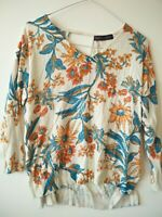 Women's m&s collection floral cream jumper sweater UK 12