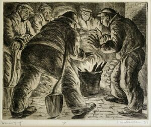 """Isaac Friedlander """"Warming Up"""" (1935) AP Signed Pencil Etching Drypoint"""